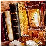 Wallario AluDibond, Bild auf Aluminium, Antike Laterne mit Kerze Alten Büchern und Taschenuhr - 50 x 50 cm in Premium-Qualität: gebürstete Oberfläche, freischwebende Optik