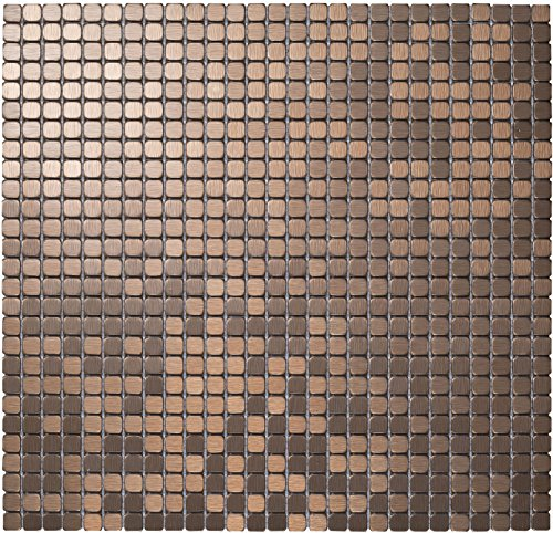 Royllent,Modern Aluminum Mosaic Tile, Peel & Stick, Wall Sticker, Backsplash, Accent Wall, glass,panel,furniture,old tile renew,1 sq.ft. (Bronze Brushed)