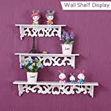 OGORI Set of 3 Shabby Chic Style Floating Wall Shelves Bookshelf White Wall Mounted Decorative Display Wall Shelf Storage Rack.