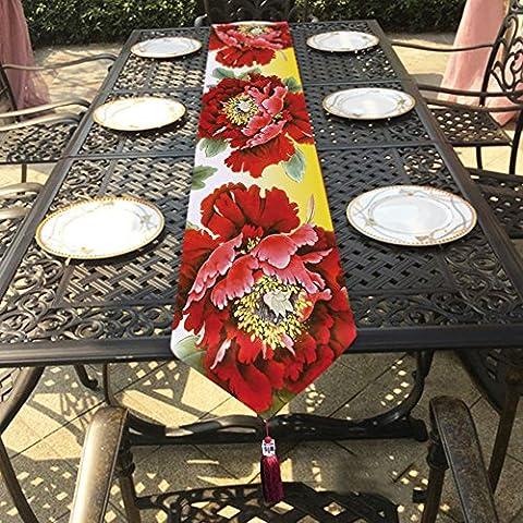 Pivoine chemin de table velouté de qualité supérieure–Memorecool Superbe Franges Decor toutes saisons sans la lumière 33x 180,3cm 1pièce, peony3, 13x95inch