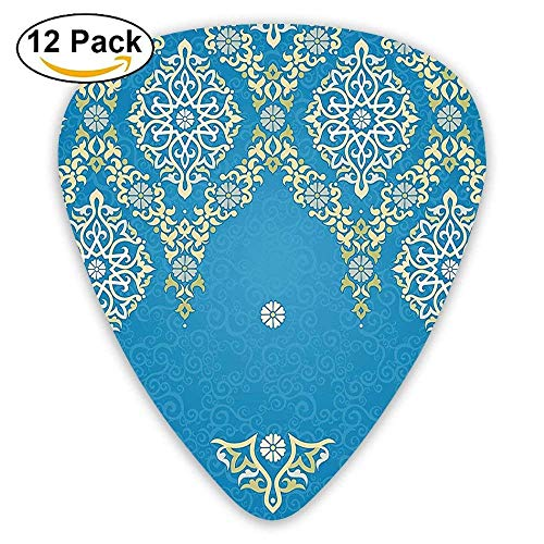 3cd8e5575252 Medieval Retro Authentic Ottoman Damask Flower Petal Rococo Style Guitar  Picks 12 Pack