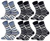 Tobeni 6 Paar Kindersocken Ringel mit Frotteefutter Thermo Socken für Jungen und Mädchen bunt blau Grösse 35-38 Farbe 2x Jeans 4x Marine