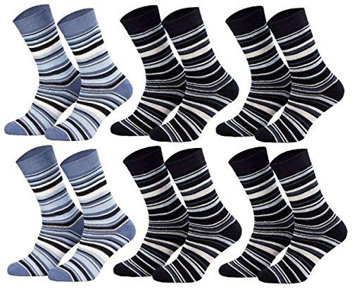 Tobeni 6 paia di calzini in cotone termico per bambini con calze autoreggenti in spugna per ragazzi e ragazze colore 2x jeans 4x marina blu taglia 27-30