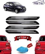 Fabtec Rubber Car Bumper Protector Guard with Chrome Strip for Honda Amaze (Set of 4) Black (Design-Double Chrome)