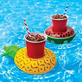 #2: Inflatable Pool Drink Holder - Fruit Style Cup Holder Float 3 Pineapple and 3 Watermelons (Set of 6)
