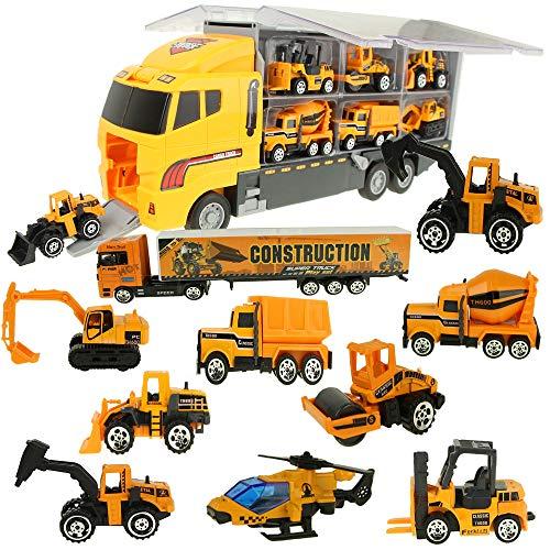 Jenilily 12 in 1 Mini Engineering Baufahrzeug Autos Toy Trucks, Bagger, Zement-LKW, Muldenkipper, Bulldozer, Gabelstapler, Straßenroller für Kinder