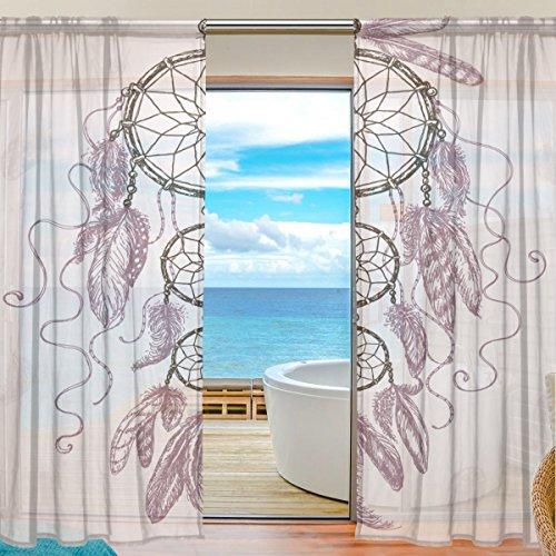 Sheer Voile cortina de ventana tela de poliéster Material hermoso patrón atrapasueños pluma impreso para dormitorio decoración hogar puerta decoración cocina salón 2paneles 78x 55pulgadas