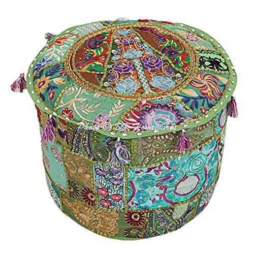 DK Homewares Indischer runder Hocker Grün Patchwork Bestickte Baumwolle Möbel Cover Dekorative Osmanische Fußstütze Sitzmöbel | (16x16x13 Zoll / 40 cm) NUR ABDECKEN