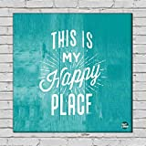 """Nutcase Framed Home Wall Art Decor Hanging Block Non-Fading Digital Painting For Living Room, Bedroom,Desk & Office - 9""""x9""""( Screws Included) - This Is My Happy Place"""