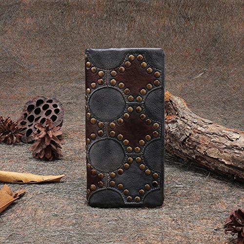 Nouveau style d'origine à la main en cuir première couche de blocage rivet zipper long wallet en cuir sac d'embrayage Ash rust