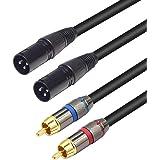 LoongGate Câble double XLR vers RCA - Câble de raccordement audio stéréo haute résistance 2 x XLR vers 2 x RCA XLRM 1.5m