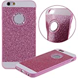Etche Case para iPhone 5,Caso de goma para iPhone 5s,Caso de lujo para iPhone 5,Caso de la piel del gel del caucho suave cubierta trasera para iPhone 5s,Caso brillante del brillo brillante para el iPhone 5s,Rhinestone Caso tachonado diamante para el iPhone 5/5s con Blue Stylus Pen y del brillo de Bling Diamond Dust Plug colores aleatorios - rosa