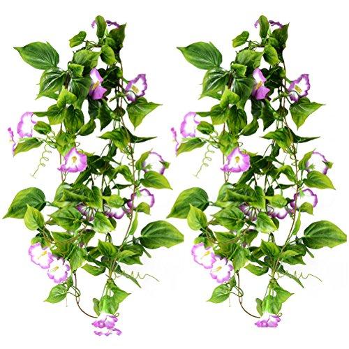 WINOMO Künstliche Reben Windende Hängende Grünpflanzen im Freien Hochzeits-hängende Körbe Dekor 2pcs (purpurrot)