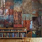 La nostalgia de óxido de hierro corrugado papel tapiz 3D estereoscópico gran mural Hotel Habitaciones Restaurante Cafe tapiz Sepia, tela de fibra sin fisuras (entero), pared de tamaño personalizado