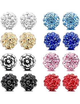 MunkiMix 4mm 6mm 8mm Edelstahl Gestüt Stecker Ohrringe Ohrstecker Ohrhänger Kristall Multicolor Kugel