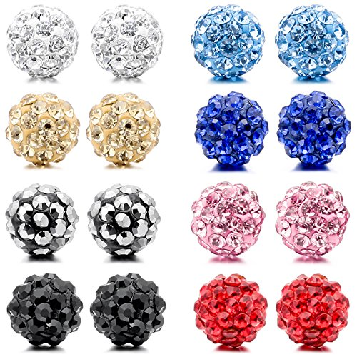 MunkiMix 8mm Acero Inoxidable Semental Pendientes Cristal Multicolor Bola Elegante Set(8 Coppie)