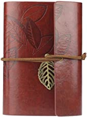Voberry Vintage Leaf Leather Cover Loose Leaf String Bound Blank Notebook Journal Diary Gift Size: 14.7*10.5*2.0 cm(L*W*H) / 5.8*4.1*0.8 inch Dark Red