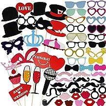 Goodlucky365 75pcs DIY Photo Booth Props Cabina de Fotos Accesorios Máscara Gafas Labios Rojos Corbatas Sombreros Para Fiesta Mascarada Boda Fotos Fiesta Favor Graduación