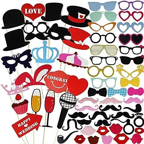 Goodlucky365 75pcs DIY Photo Booth Props Cabina de Fotos Accesorios Máscara Gafas Labios Rojos Corbatas Sombreros Para Fiesta Mascarada Boda Fotos Fiesta Favor