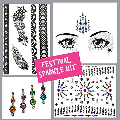 Face Gems, 4 Stück Set von Strass bindis-huge Bindi pack-temporary tattoo- Face Jewels Kristallen, Face Sticker, Augenbrauen Gesicht Körper Glitzer Schmuck Mermaid Rave Art Festival lot1