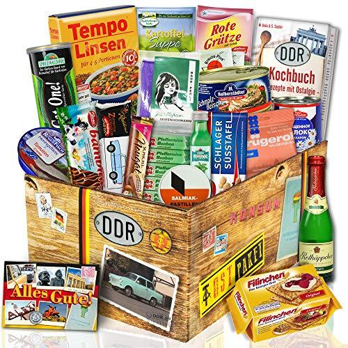 DDR Geschenkkorb | DDR Spezialitäten | Trabi Puffreis Schokolade, Brausepulver, Rotkäppchen Sekt, Salmiak Pastillen, Filinchen Knusper, Pfeffi Likör…