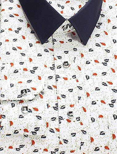 sourcingmap Hommes Une Poche Slim Fit Veste Droite imprimé Chemise blanc-feuilles imprimé