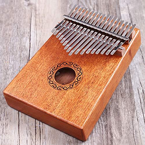 Finger-Klavier 17 Tasten Kalimba Daumen Klaviertasche Daumen-Klavier Mahagoni Körper Finger Percussion Tastatur mit Anleitung und Tune Hammer für Anfänger und Musikliebhaber mahagoni
