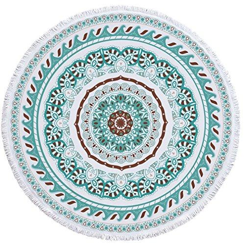 YAN Décor Rond de Gland de Serviette de Plage avec de Petites Boules de Fleurs Motif 1150 * 150CM de Nappe de Pique-Nique de Nappe de Yoga Circulaire (Design : 3)