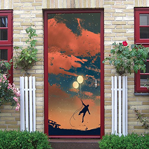 Calcomanías De Papel Tapiz De Puerta 3D Atrapasueños Con Globos Puerta Etiqueta Dormitorio Baño Póster Mural Art Deco, 77X200Cm Vinilo Etiqueta Autoadhesiva Impermeable Para Puerta