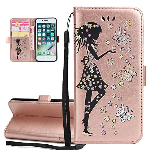 Custodia per Apple iPhone 7, ISAKEN Custodia in Sbalzato Embossed Design PU Pelle Book Folding Case Glitter Bling Cover, Supporto Stand e Porta Carte Integrati Portafoglio Flip Cover con Chiusura Magn Girl: rose gold