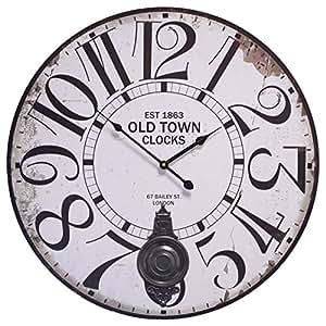 Old Town Clocks rotondo bianco shabby Orologio a pendolo in legno Look nostalgico Nuovo 58cm