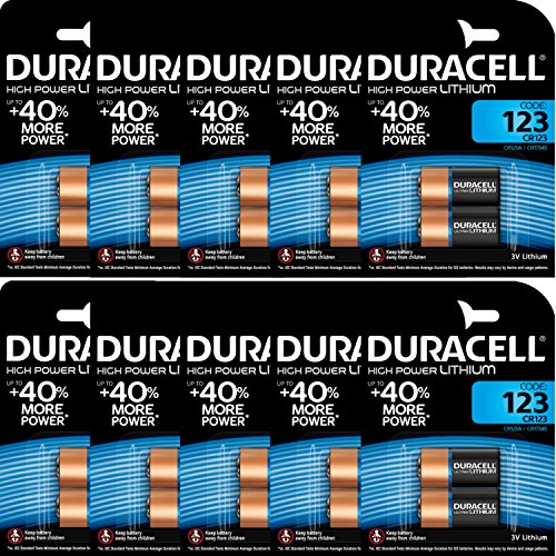 Duracell CR123 3 Volt Lithium Photo Batterie (123, CR123 A/DL123 A/). 10 x 2 Pack (20 Batterien) Duracell 123