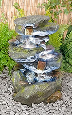 Small Solar Powered Water Feature 3 Tier Cascading Design with LED Lights PC250