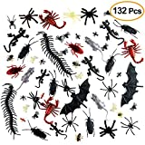 Kuuqa 132 Pieces Plastic Realistic Bugs Prank Novelty Insects Bugs Fake Roaches Spiders Scorpions Rats Geckoes Centipedes Flies Bats for Halloween Party Favors Creepy Decorations Supplies