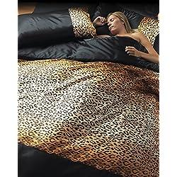 Juego de cama de 6 piezas con estampado de leopardo. Funda de edredón, fundas de almohada y sábana