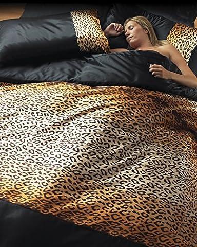 Maison/chambre Motif léopard 6 pièces pour lit Double avec housse de couette avec taies d'oreiller & feuille