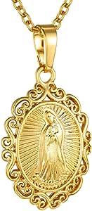 Goldchic Jewelry Collana Medaglia Ovale Miracolosa, Pendente Madonna Delle Grazie Con Bordo In Filigrana