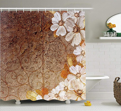 Grunge Home Decor Collection, Flowers and Leaves Pattern on Cracked Wall with Floral Lines Classic Deco, Polyester Fabric Bathroom Shower Curtain, 60 x 72 Inches, Brown Gold White Cracked Gold Leaf