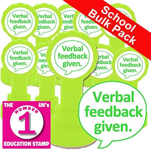 12x Verbal Feedback Given. (grün Tinte). Schule Briefmarken Bulk Pack