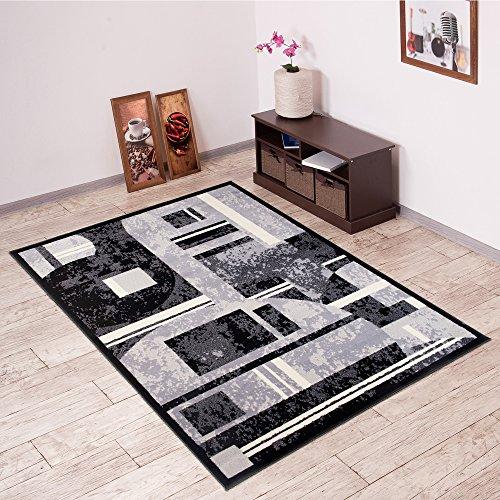 Alfombra De Salón Moderna – Color Negro Gris De Diseño Figuras Geométricas – Suave – Fácil De Limpiar – Top Precio – Diferentes Dimensiones S-XXXL 220 x 300 cm