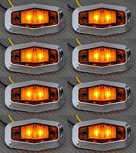 8 x Chrom Blende LED 24 V Bernstein Seite Outline Marker Lights Lampen Lkw Truck Chassis Trailer Caravan - Chrome Finish 8-licht