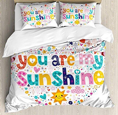 Herzförmiger Bettbezug Set (Soefipok 3 PCS Bettbezug Set, herzförmige Sonnenschein Motiv mit Sternen Kreis Sun Cloud Infant Design, Bettwäsche Set Tagesdecke für Kinder/Jugendliche/Erwachsene/Kinder, Multicolor)
