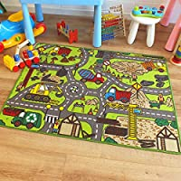 Superb Kids/Childs Rug Construction Site Road Map Play Mat 100cm x 133cm (3