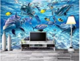 Yosot Benutzerdefinierte Fototapete 3D-Stereo-Unterwasserwelt Von Meeresfischen Lebenden Kinderzimmer Tv Hintergrund 3D Wandbild Tapete-450Cmx300Cm
