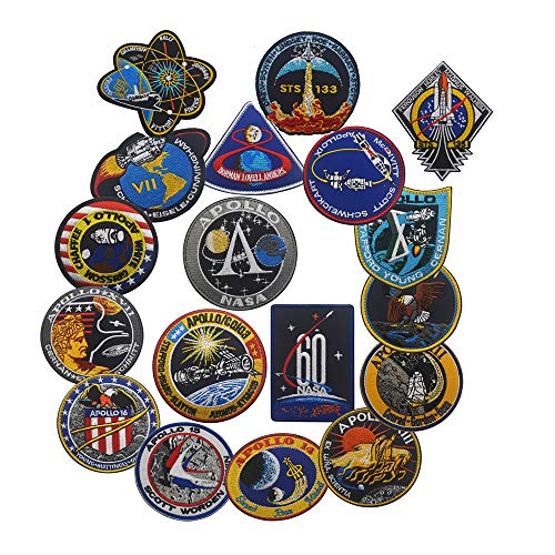 Apollo 11 Mission Patch Offizielles NASA Space Shutte Programm DIY bestickte Kostüm-Applikation Abzeichen Taktische Militär Aufnäher Motorrad Tags Emblem für Reise Rucksack Hüte Jacken Set of (Nasa Bestickte Kostüm)