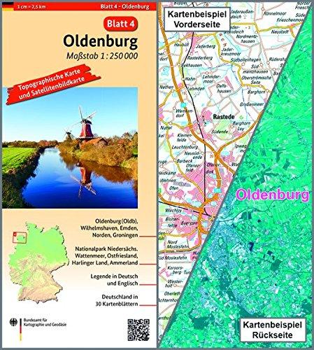 Oldenburg: Umgebungskarte mit Satellitenbild 1:250.000 (TK250/Topographische und Satellitenbildkarte)