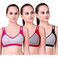 Alive Women's Cotton Non Padded Non-Wired Sports Bra (Pack of 3)