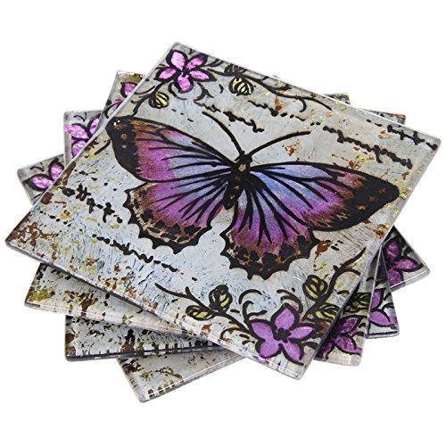 Filz Untersetzer aus Glas mit Schmetterlingsmotiv schön dekorierte Lavendel & NEU OVP