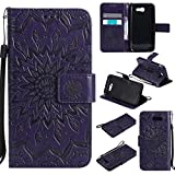 Galaxy J3 2017 Case, KKEIKO� Galaxy J3 2017 Flip Leather Case [with Free Tempered Glass Screen Protector], Shockproof Bumper Cover and Premium Wallet Case for Samsung Galaxy J3 2017 (Purple)