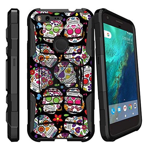 Google Pixel Heavy Duty Case| Pixel Design Case [Clip Armor]-Premium Heavy Duty shooproof Case mit Metallständer und Holster von miniturtle, Sugar Skulls